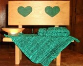 Two Large Green and Black Pre-shrunk 100 percent Cotton Machine knit Dish Cloths...11  inches X 12 inches