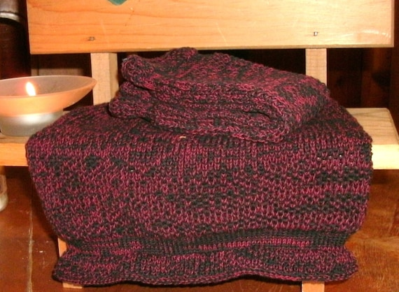 Two Large Red and Black Pre-shrunk 100 percent Cotton Machine knit Dish Cloths...11  inches X 12 inches