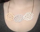 Vintage Style Rose Trio Tatted Lace Necklace