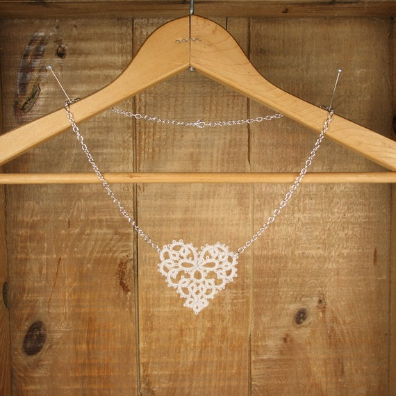Dove Gray Heart Tatted Lace Necklace