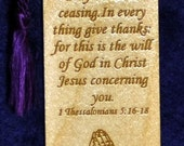 Wood Scripture Bookmark - 1 Thes 5:16-18 with Praying Hands