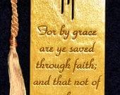 Wood Scripture Bookmark - Ephesians 2:8 wih Calvary