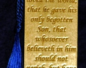Wood Scripture Bookmark - John 3:16 with Scroll Design