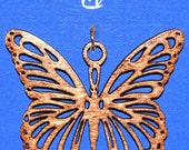 Wood Butterfly Necklace with Leather Cord