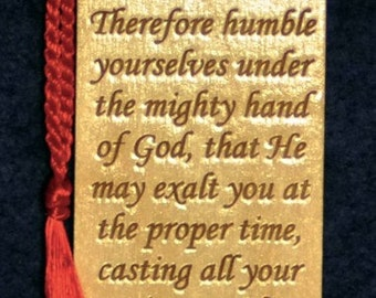 Wood Scripture Bookmark - 1 Peter 5:6-7 with Leaf Cross