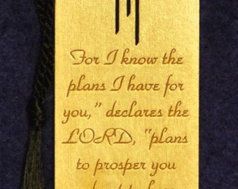 Wood Scripture Bookmark -Jeremiah 29:11 with Calvary