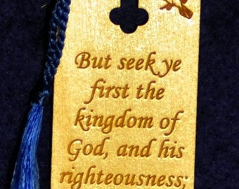 Wood Scripture Bookmark - Matthew 6:33 with Gregorian Cross and Doves