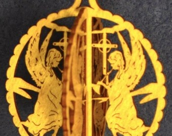 Extra Large 3-D Wood Angel Celebration Ornament