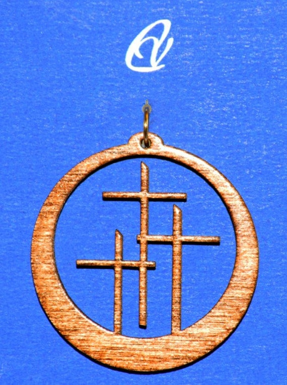 Wood Calvary Cross with Leather Cord