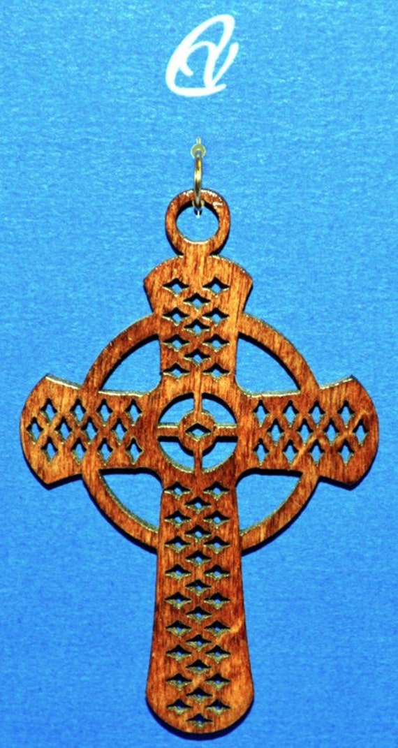 Wood Celtic Diamond Cross with Leather Cord