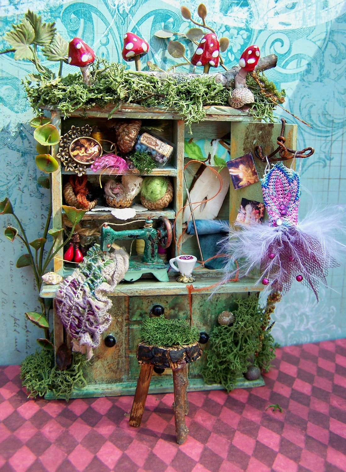 Dollhouse Miniature Fairy Sewing Notions Cabinet Layaway