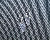 Coffin earrings in sterling silver