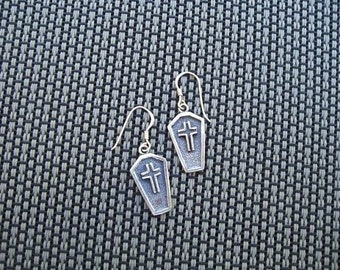 Coffin earrings in sterling silver