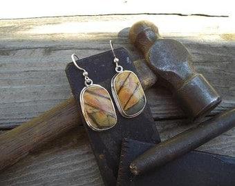 Sterling silver Picasso Jasper earrings