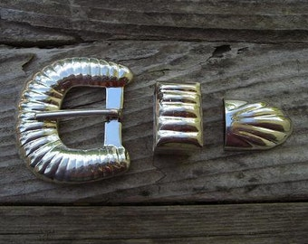 Vintage sterling silver ranger belt buckle set