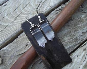 Amethyst crystal earrings in sterling silver