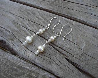 Victorian pearl earrings in sterling silver