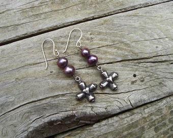 Lavender pearl earrings in sterling silver