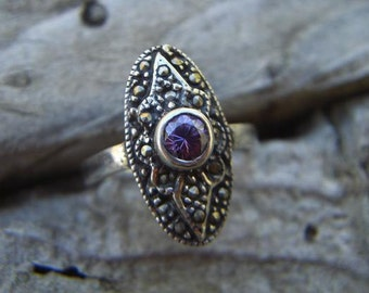 Vintage Victorian marcasite ring in sterling silver