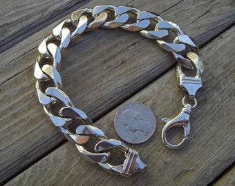 Very heavy curb bracelet in sterling silver