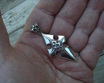 Large medieval cross in sterling silver