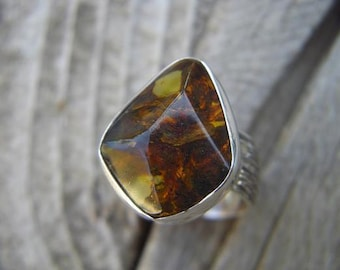 ON SALE Amber ring in sterling silver