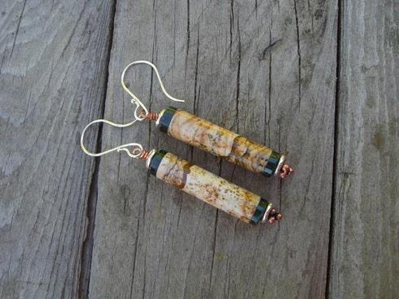 Picture jasper earrings in sterling silver