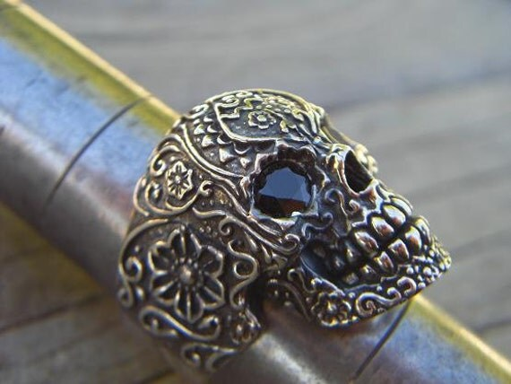 Sale....Sugar skull ring in sterling silver with black cz's for eyes