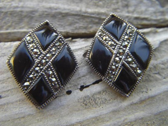 Vintage marcasite and onyx earrings in sterling silver