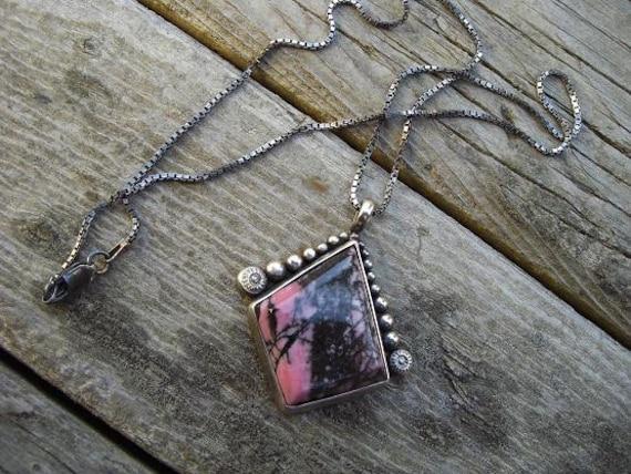 Rhodonite necklace in sterling silver
