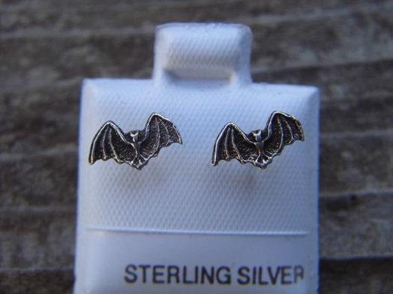 Sterling silver small bat earrings