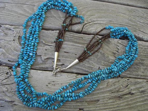 Vintage American Indian necklace in sterling silver with turquoise