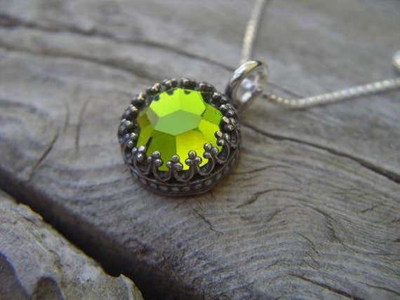 Special order for Annete, Olive green swaroviski crystal necklace in sterling silver