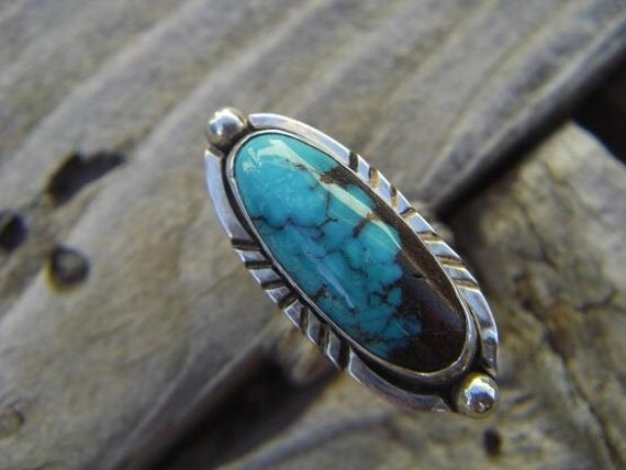 Turquoise ring handmade in sterling silver