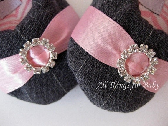 Baby shoes grey and pink rhinestone mary jane ballet flats- Pink 'n Pinstripe