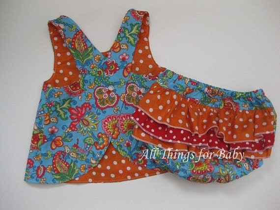 SALE 50% OFF Baby girls pinafore diaper cover set- Briana