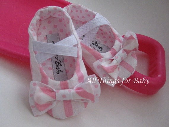 Baby girl fabric shoes pink ballet flat- Little Susie