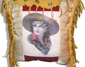 Western Leather PILLOW of Vintage Cowgirl elk hide leather hand cut fringe