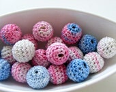 All Natural Crocheted Blue Pink Beads 12Pcs