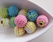 Organic Crocheted Beads in Spring Colours 12 Pcs