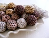 Neutral Organic Crocheted Beads 12 Pcs
