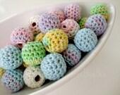 Organic Crocheted Pastel Beads 12 Pcs
