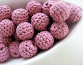 Rose Pink Organic Crocheted Beads 12 Pieces