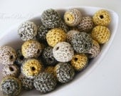 Mustard Green Ivory Crochet Beads 12Pcs