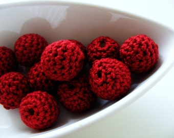 Eco Friendly Burgundy Crocheted Beads 12 Pcs