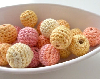 All Natural Crocheted Peachy Beads 12Pcs
