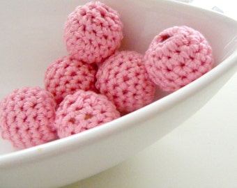 12 Pink Organic Crocheted Beads