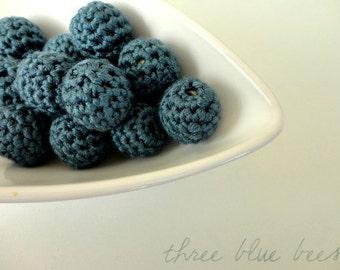 Steel Blue Crocheted Beads 12pcs