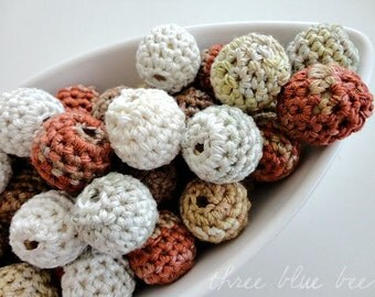 12 Organic Crocheted Beads Shades of Beige