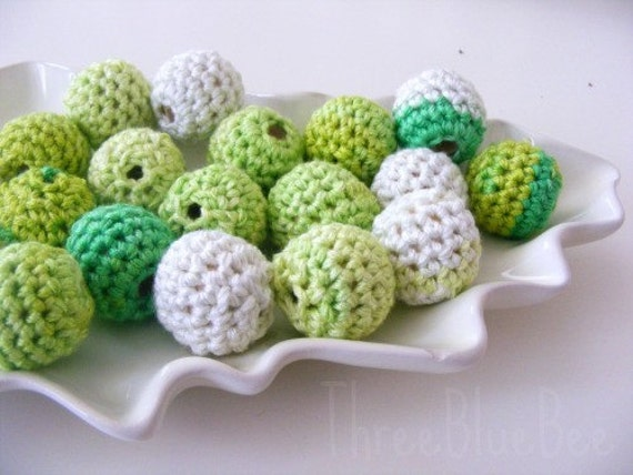 All Natural Crocheted Green Beads 12Pcs